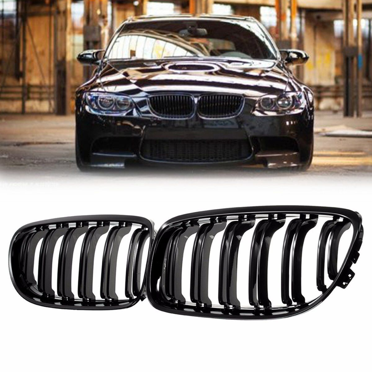 Pair Gloss Black Car Front Grille Grill For BMW E90 LCI 3-Series Sedan/Wagon 2009 2010 2011