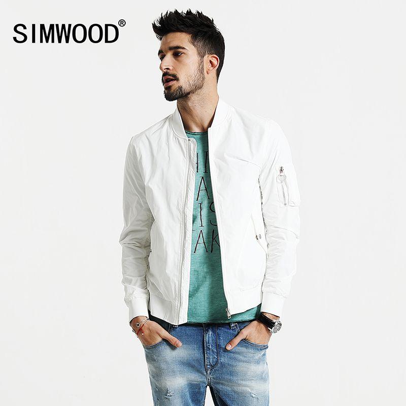 Simwood 2018 Новинка весны Курточка бомбер Для мужчин ветровка модные повседневные пальто Slim Fit брендовая одежда плюс Размеры верхняя одежда wj1664