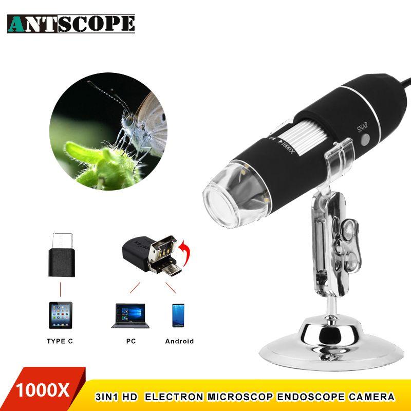 Antscope 1000X 8 LEDs USB Electronic Digital Microscope USB Android Endoscope Camera Microscopio Type C Magnifier Borescope 48