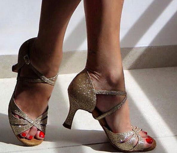 Sexy brillant or paillettes latine Salsa chaussures de danse de salon talons hauts Salsa chaussures de danse latine chaussures de danse de salon DS321
