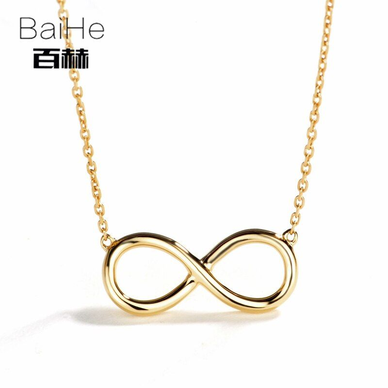 BAIHE Solid 14K Yellow Gold Certified Engagement Women Trendy Fine Jewelry GUFT Necklaces