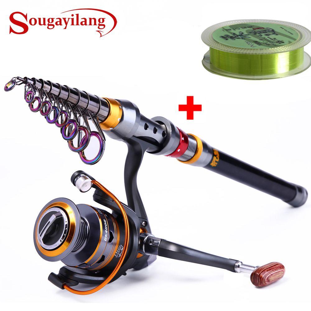 Sougayilang 1.8-3.6 m canne à pêche télescopique et 11BB moulinet de pêche roue Portable voyage canne à pêche filature canne à pêche Combo