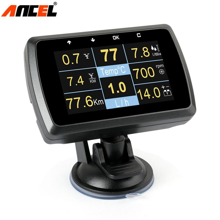 Ancel A501 OBD2 HUD Display On-board Computer Für Auto Kraftstoff Verbrauch Temperatur Tacho Meter 2 in 1 OBD2 head Up Display