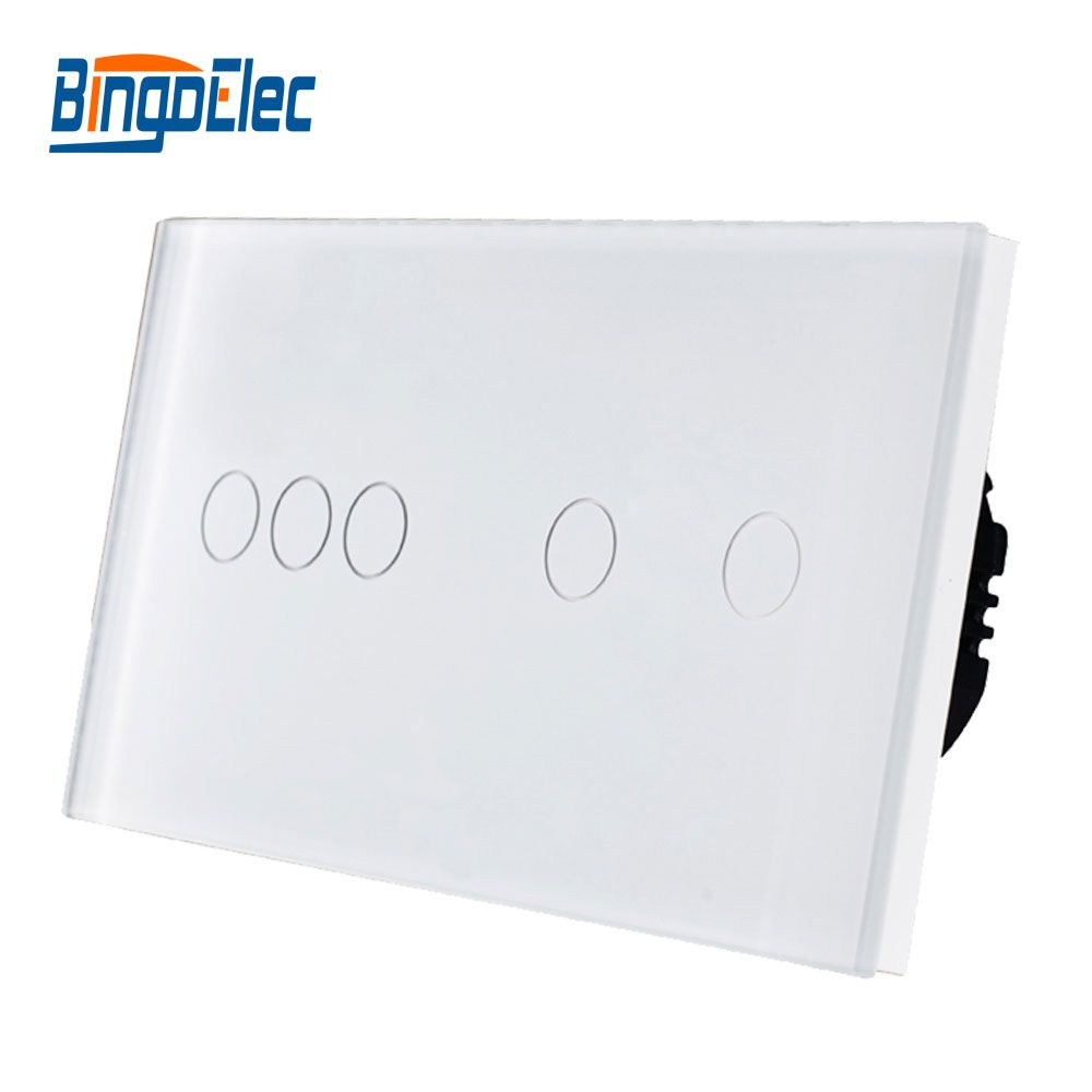 EU standrad 5gang 1way wall light touch screen switch,three color crystal panel switch,AC110-250V Hot Sale