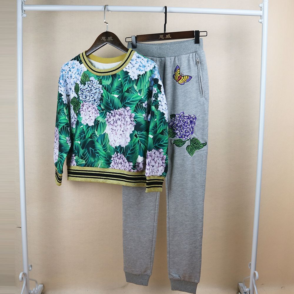 High Quality Fashion Women 2 Pieces Leaves Print Sets Three Quarter Sleeve Tops + Long Pant European Embroidery Pretty Suits