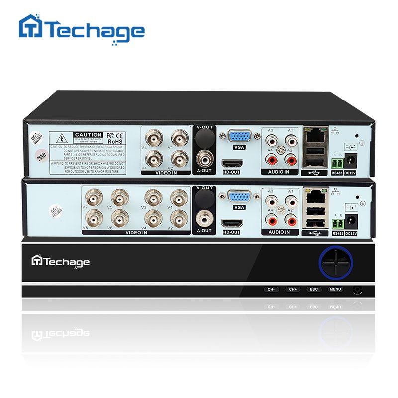 Techage Full 8CH 4CH H.264 1080P HDMI AHD AHD-H CCTV DVR NVR HVR P2P ONVIF 2.0 Security Video Recorder for Analog AHD IP Camera