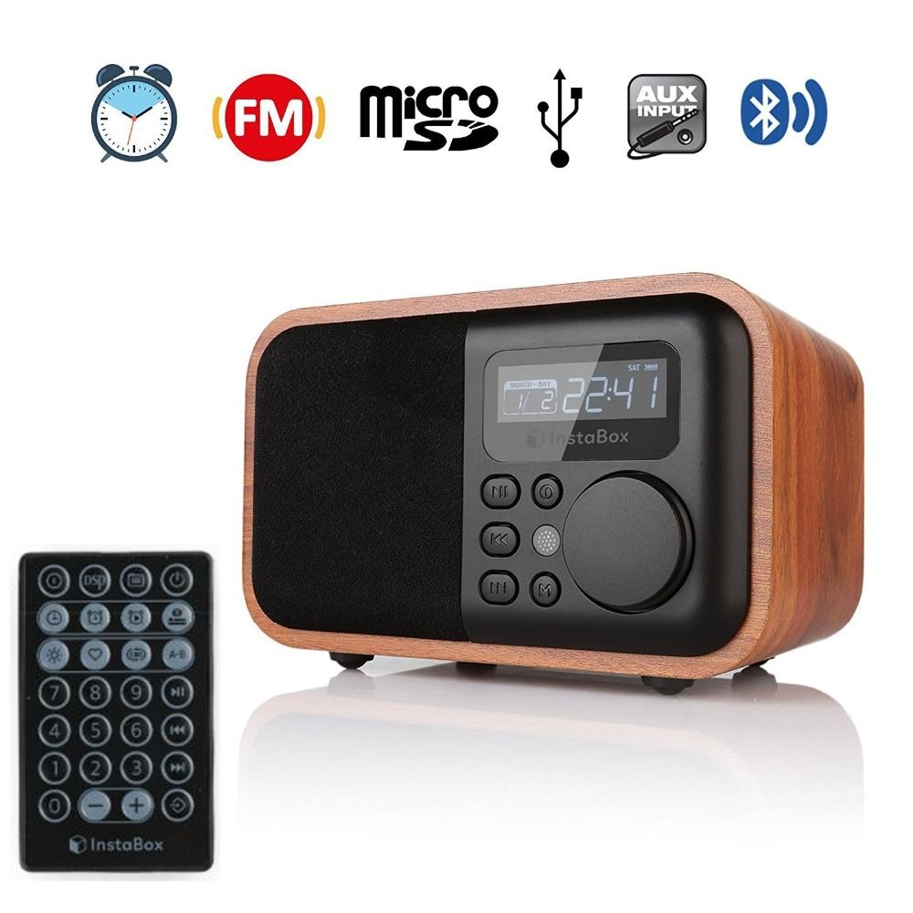 InstaBox i90 FM Radio Wooden Digital Multi-Functional Speaker Bluetooth Alarm Clock MP3 Player Supports Micro SD/TF Card USB AUX