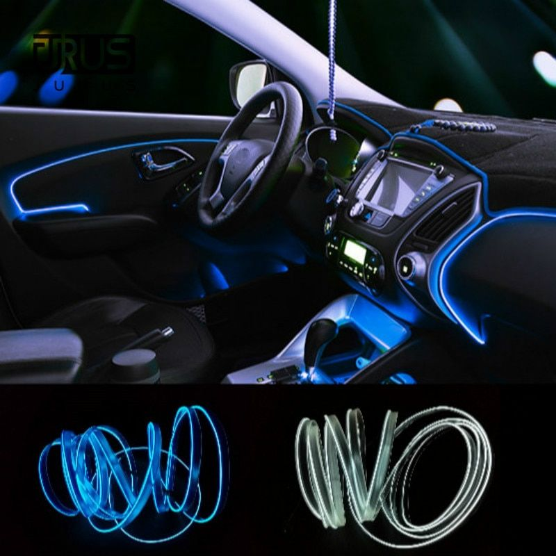 JURUS 3Meter 10Color Flexible Neon Light El Wire Rope Lamp Auto led Car Ambient Lighting Decoration 12V Inverter Car-Styling
