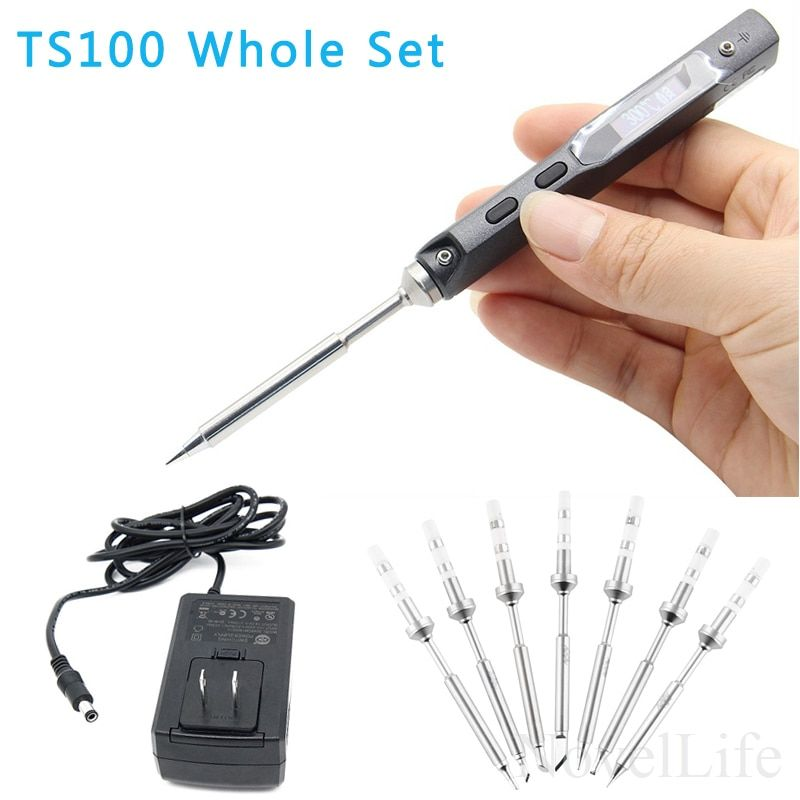 TS100 65W Mini Programmable Electric Soldering Iron Station Kit Digital OLED Display Adjustable Temp with 7pcs Tips Power Supply