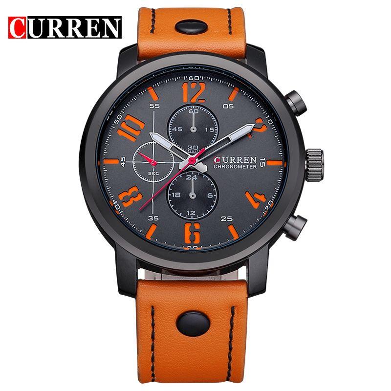Кварц-часы Curren Для мужчин спортивный Часы лучший бренд класса люкс Для мужчин Часы модная мужская Наручные часы кожаный ремешок Relogio Masculino