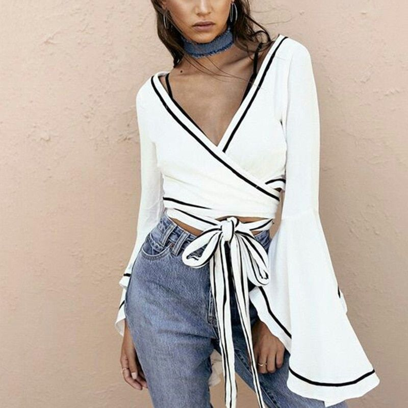 White wrap blouse Sexy v neck bell sleeve <font><b>cross</b></font> bandage crop tops Women summer 2018 tie waist short blusa