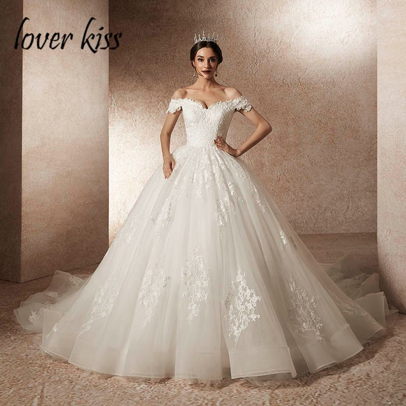 Lover Kiss Vestido De Noiva princesa Luxury Beading Off Shoulder Wedding Dress Train Tul Bride Wedding Gown robe mariee mariage