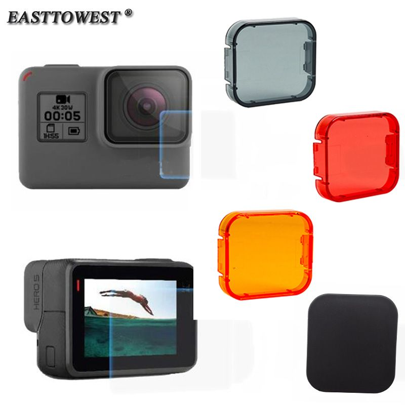 Easttowest For GoPro Hero 5 Accessories  Lens + LCD Screen Protective Film +Lens Cap +Underwater Diving Filters For Gopro Hero 5