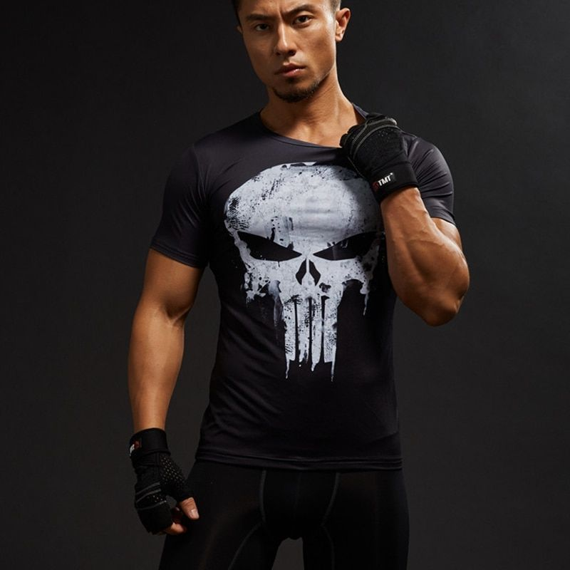 Compression Shirts Men's 3D Printed T-Shirts Short Sleeve Cosplay Fitness Bodybuilding Male Crossfit Tops Punk Skull Skeleton