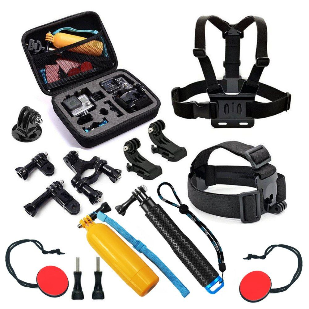 Action Camera Shooting Accessories Set for GoPro Hero 5 4 3 HERO5 Session Xiaomi Yi 4K SJCAM SJ4000 Chest Head Strap Mount Kits