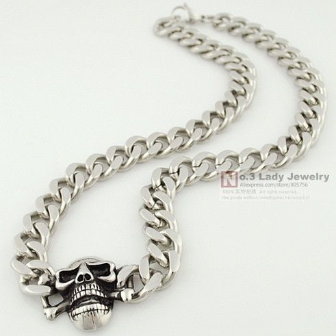 Stainless Steel Curb Cuban Chain Skull Necklace For Men Hip Hop Jewelry 2015, Rock, Biker, Punk, Wholesale Free Shipping WN124