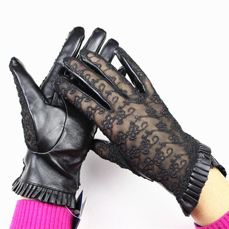 2017 corrieron guantes cuero Guantes mujeres bordado moda Encaje oveja ninguna pantalla táctil interior doblado estilo de conducción