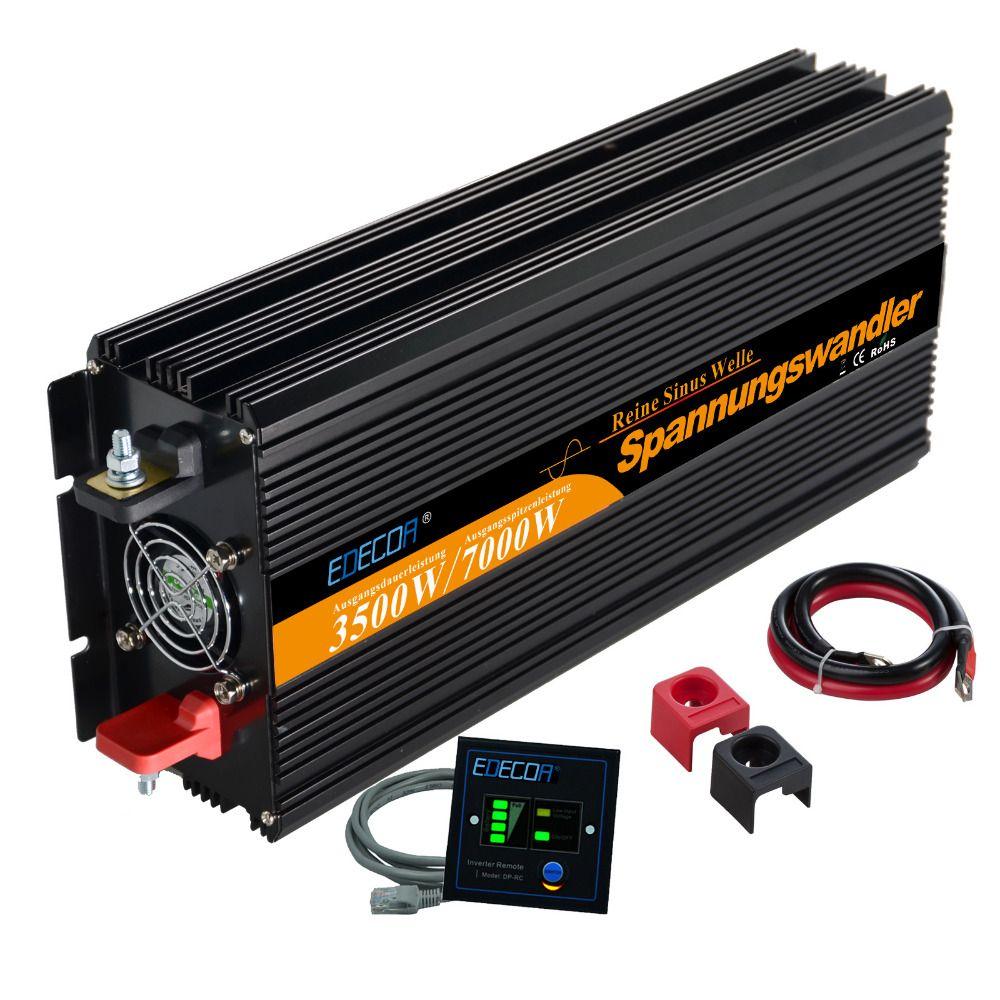 12 v 3500 watt/7000 watt peak reine sinus-wechselrichter solar inverter dc zu ac power inverter