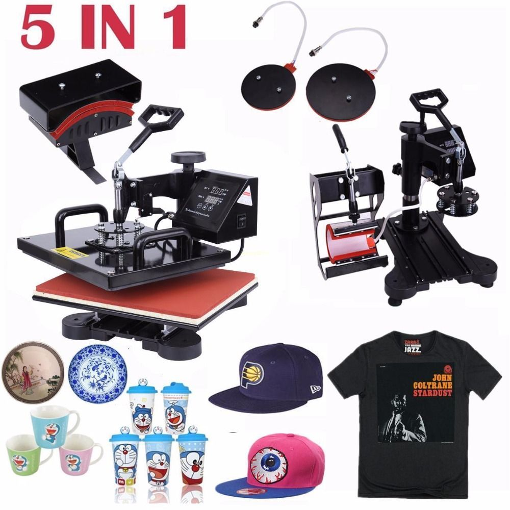 (Schiff von USA) 5 in 1 Combo Digitale Hitze Presse Maschine Schaukel Wärme Sublimation Transfer für T-Shirt Becher Tasse Kappe Hut Platte