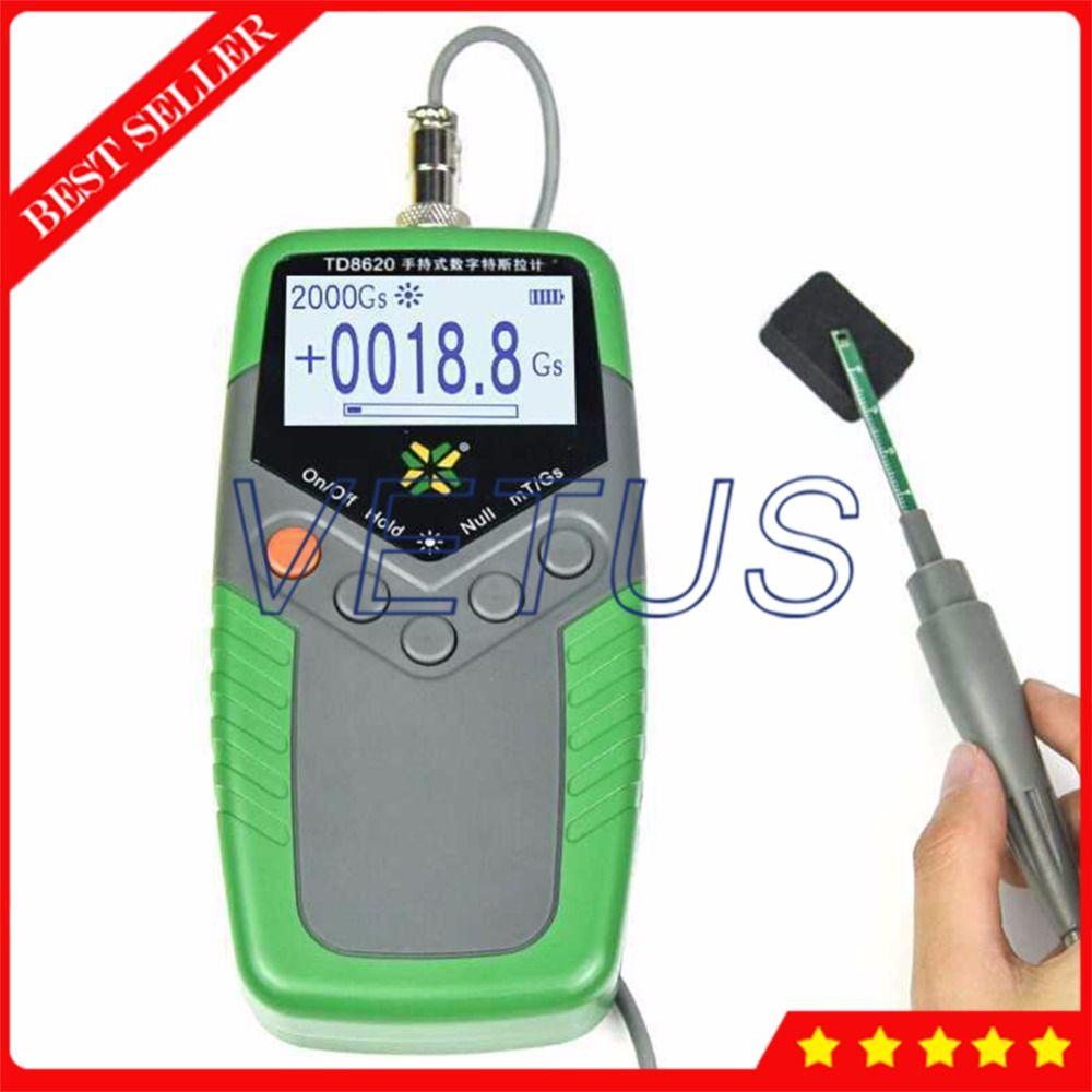 TD8620 Permanent Magnet Gauss Meter Gaussmeter Handheld Digital Tesla Meter with Surface Magnetic Field Tester 5% Accuracy