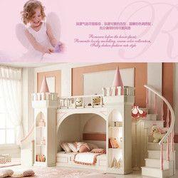 European princess children bedroom furniture double  bunk bed Pine wooden ladder