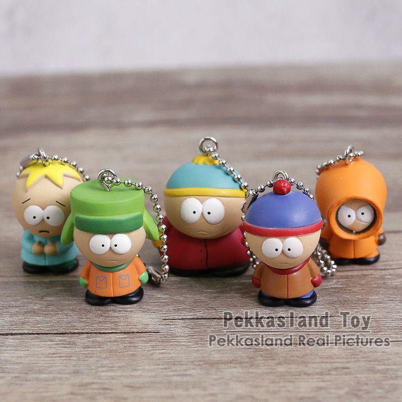 South Park Mini PVC Figures Toys Stan Kyle Eric Kenny Butters Pendants Keychains 5pcs/set 2.5cm