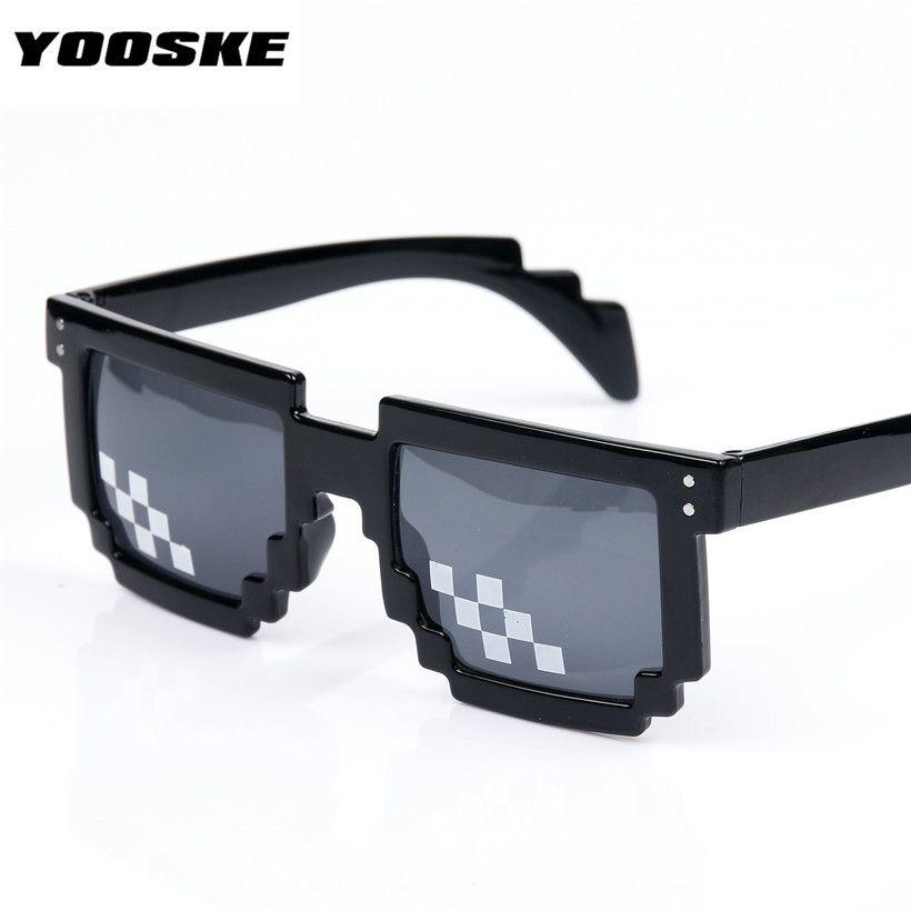 YOOSKE Abordarlo Gafas 8 bits Píxeles Gafas de Sol Del Mosaico hombres Mujeres Gafas de Partido Dealwithit thug life Popular En Todo el mundo