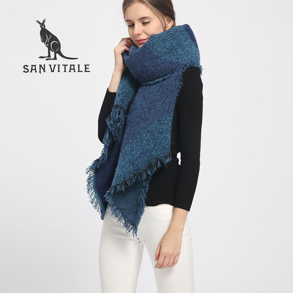 SAN VITALE Scarves for Women Shawls Winter Warm Scarf Luxury Brand Soft Fashion Wraps Wool <font><b>Cashmere</b></font> Chiffon Islamic Plaids Hijab