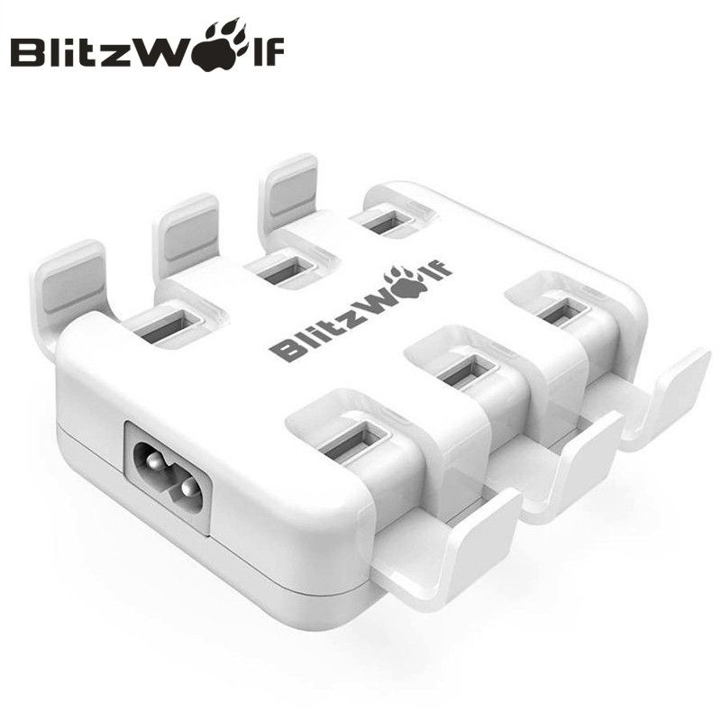 BlitzWolf USB Charger Mobile Phone Charger Adapter 6-Port Fast Desktop Charger For iPhone X 8 7 6s 6 Plus For Samsung Smartphone