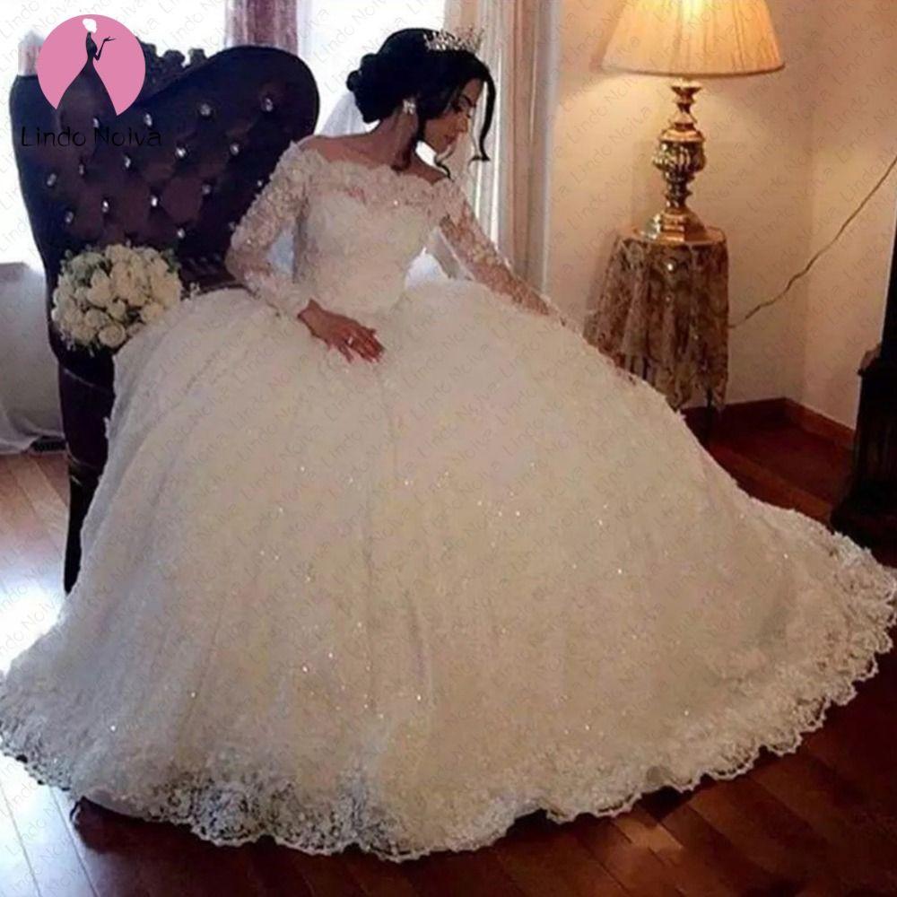 Vestido De Noiva Prinzessin Brautkleider Plus Größe Elegante Boot-ausschnitt Dubai Weiß Ballkleid Spitze Lange Ärmel Hochzeit Kleider 2019