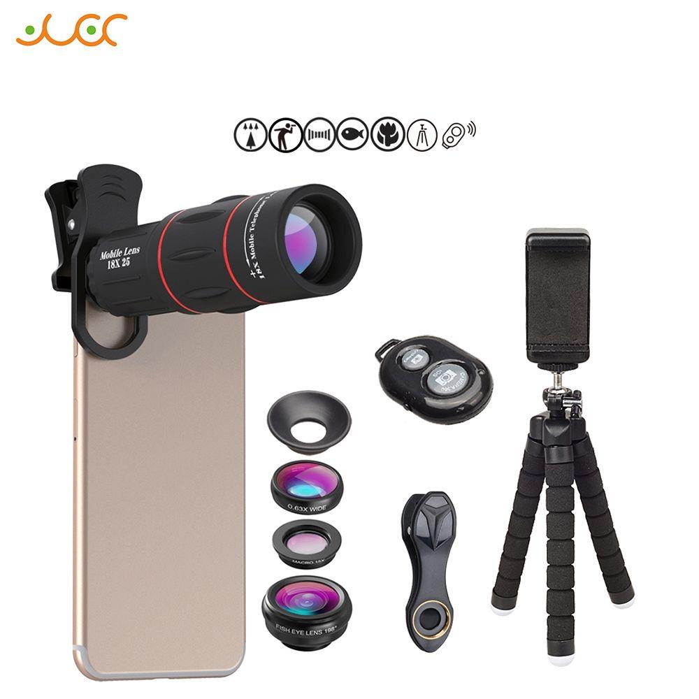 APEXEL kit d'objectifs pour téléphone Fisheye grand-angle macro 18X lentilles de télescope téléobjectif pour iphone xiaomi samsung galaxy android téléphones