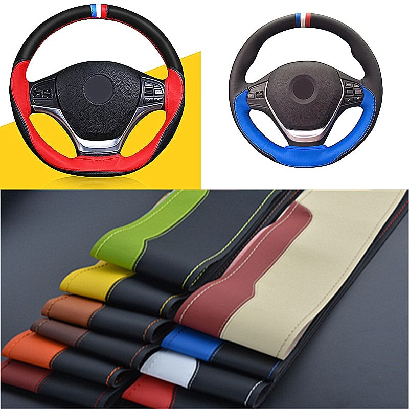 Car Braid On Steering Wheel Cover Leather Micro Fiber 38cm DIY Steering-wheel Cover Universal Needles Thread Car-covers Hot 2017