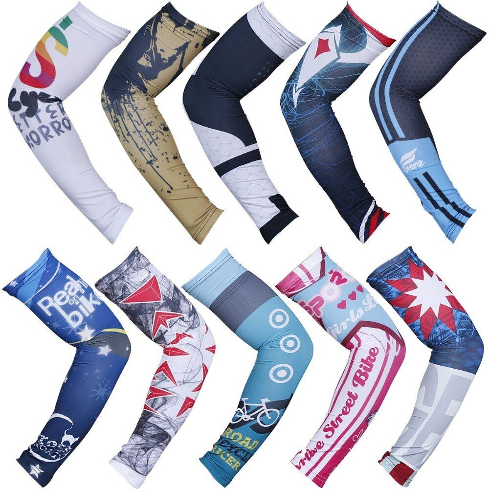 Cycling Arm Sleeves Printed Quick Dry Breathable UV Protection Arm Warmers Running Basketball Riding Sports Guard Accessories