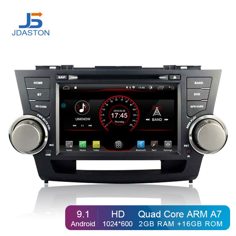 JDASTON Android 9.1 Auto DVD Player Für Toyota Highlander 2009-2013 2 Din Auto Radio GPS Navigation Multimedia IPS Stereo WIFI