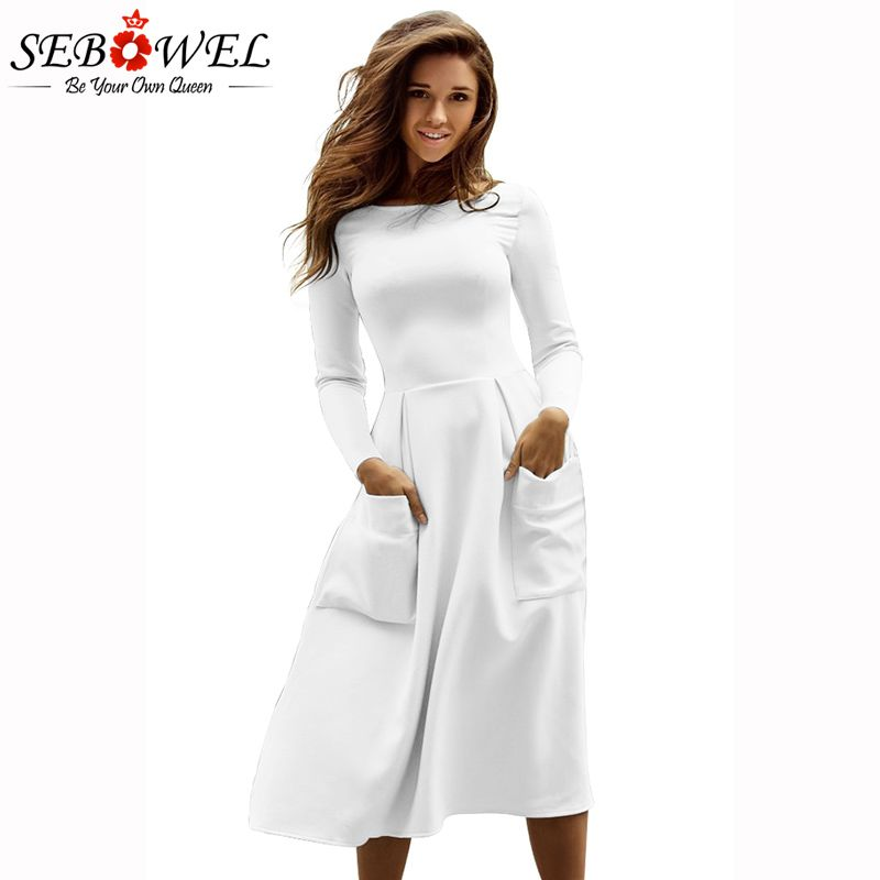 SEBOWEL 2018 New 6 Color Casual Skater Dress Women Long Sleeve Big Pocket Midi Dresses Brief Autumn Winter Female Vestidos S-XL