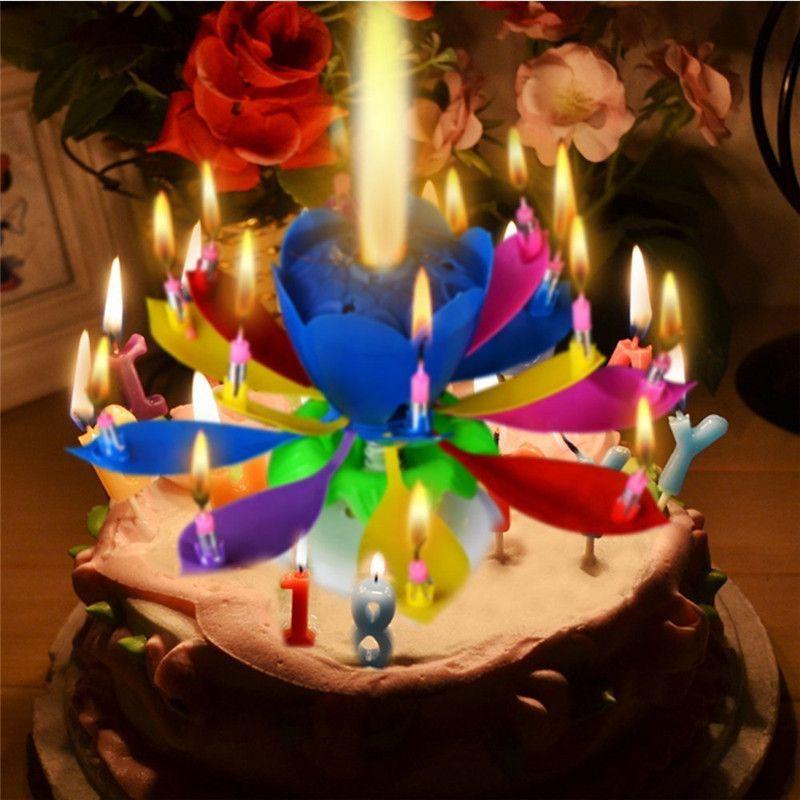 1 pièces incroyable deux couches avec 14 petites bougies Lotus joyeux anniversaire Spin chant romantique Musical fleur fête lumière bougies