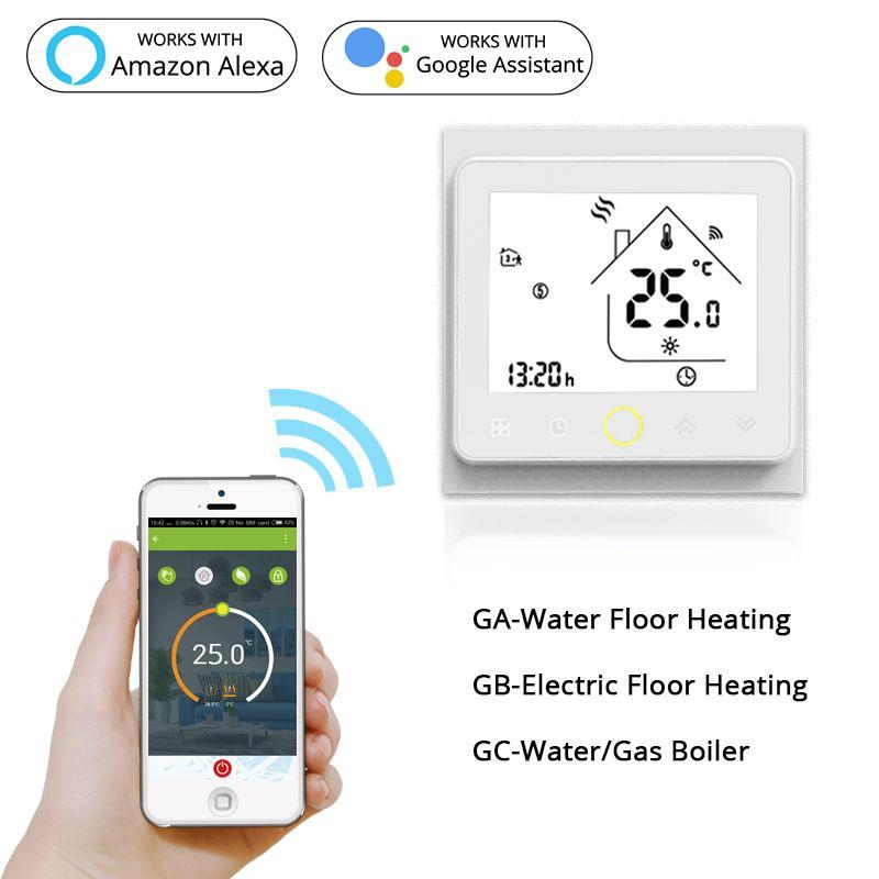 Thermostat intelligent WiFi régulateur de température eau électrique chauffage par le sol chaud chaudière à gaz d'eau fonctionne avec Echo Google Home Tuya