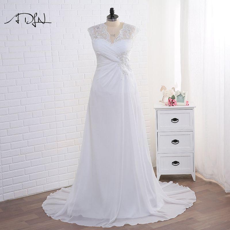 Adln белый/слоновая кость со плюс Размеры свадебное платье элегантный v-образным вырезом аппликация бисером шифон пляж свадебные платья vestidos ...