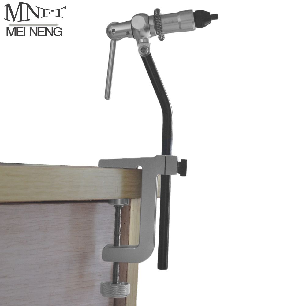 MNFT 1Set Portable Desk Clap Fly Tying Vise Rotary Head Stainless Anodized Aluminum Construction With Rotary Desk C Clamp Pocket