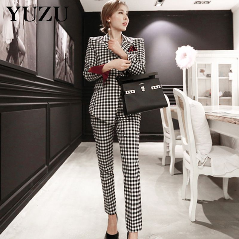 Formal Suits For Women Plaid Business Pant And Blazer Winter 2 Piece Set Single-breasted Irregular Long Jacket Elegant Pant Suit
