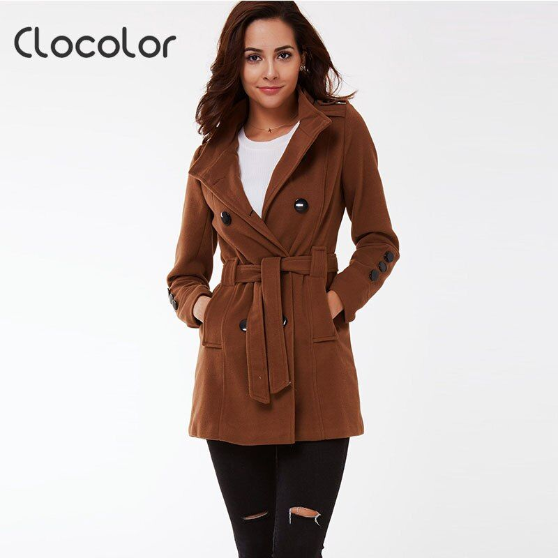 Clocolor women Autumn trench double breast stand collar jacket button plain slim sashes outwear winter warm Halloween women coat