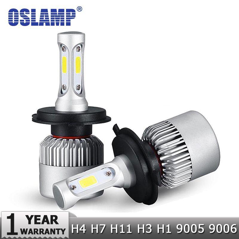 Oslamp H7 H11 H1 H3 9005 9006 COB voiture ampoules de phares LED H4 Hi-Lo faisceau 72 W 8000LM 6500 K/4300 K Auto lampe frontale LED voiture lumière 12 V