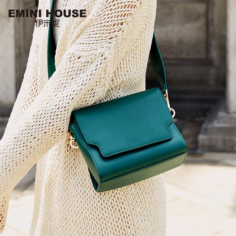EMINI HOUSE Split Leather Shoulder Crossbody Bags For Women 2018 Solid Color Retro Wide Strap Women Messenger Bags Square Shape