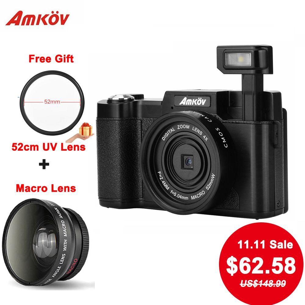 AMKOV CDR2 appareils photo numériques 8.0MP CMOS Caméras professionnelles 1080 P HD Caméscopes appareils photo reflex numériques Grand Angle Téléobjectif Camara