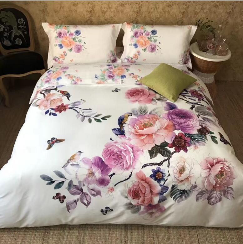 Butterfly flowers bedding sets luxury bed sheet cotton 4pcs adult duvet cover set queen king size boho Bedclothes pillowcases