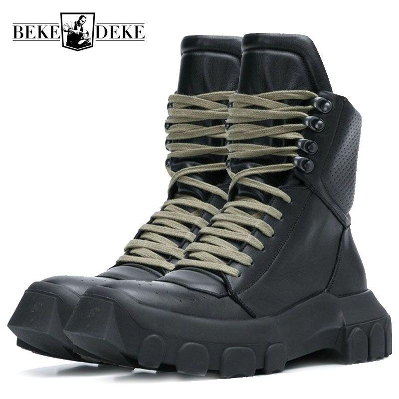 Winter Männer Lace Up Militärische Taktische Spitze Up Stiefeletten Med Heels Plattform Arbeit Sicherheit Schuhe Armee Echtem Leder Stiefel homme