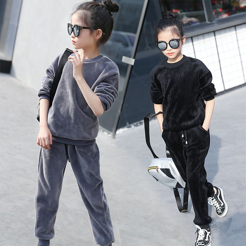 New Children's Clothing Sets Winter Warm Girl Clothes Thicken double-sided velvet suit Sweatshirt Leggings Suit Kids Coat Pnats