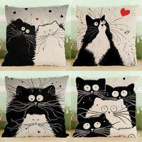 Черный пара кошек Мой сосед Тоторо свадебный подарок Чехлы оптовая продажа домашнего офиса диван вечерние декоративная наволочка