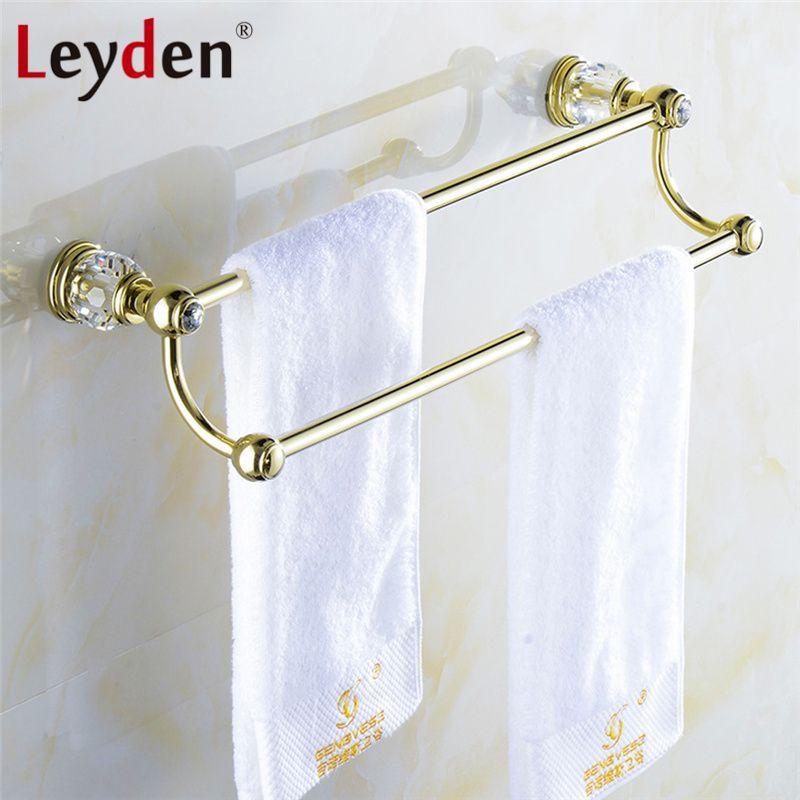 Leyden Luxury Golden Messing & Kristall Doppelhandtuchhalter Europäischen Königlichen Wand Handtuchhalter Bar Halter Bad-accessoires