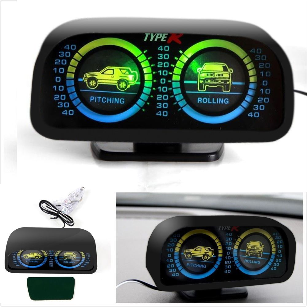 wupp Car Auto Compass adjustableBalance MeterSlope Indicator Land Meter with LED Light For Off-Road Vehicle SUV Guide ball TYPER